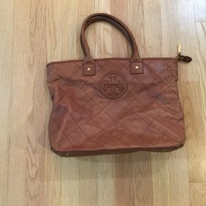 Tory Burch soft brown quilted leather tote